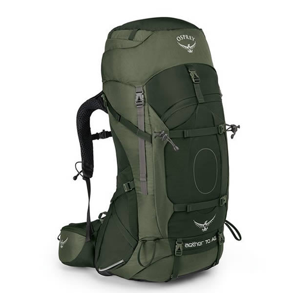 Osprey Aether AG Men's 70 Litre Hiking / Mountaineering Backpack with Raincover Adirondack Green
