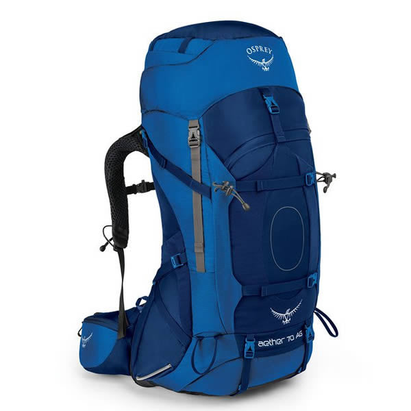 Osprey Aether AG Men's 70 Litre Hiking / Mountaineering Backpack with Raincover neptune blue
