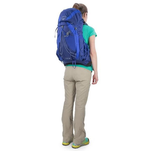 Osprey Eja 38 Litre Womens Ultralight Hiking Backpack in use on back rear view