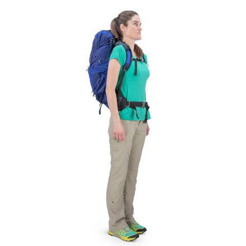 Osprey Eja 38 Litre Womens Ultralight Hiking Backpack in use on back side view