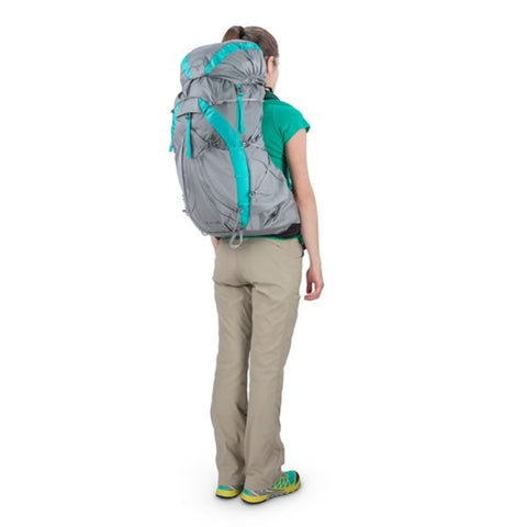 Osprey Eja 48 Litre Womens Ultralight Backpack Moonglade Grey in use rear view