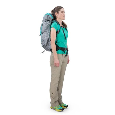 Osprey Eja 48 Litre Womens Ultralight Backpack Moonglade Grey in use side view