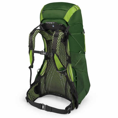 Osprey Exos 48 Litre Lightweight Backpack Tunnel Green carry harness