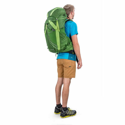 Osprey Exos 48 Litre Lightweight Backpack Tunnel Green in use rear view