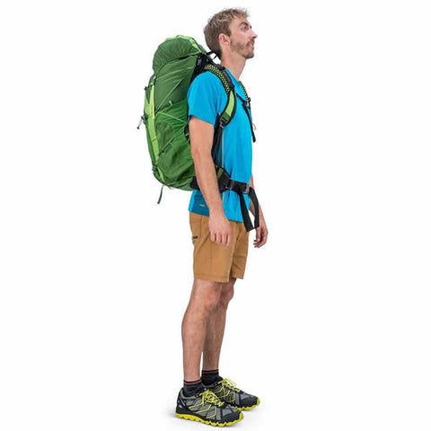 Osprey Exos 48 Litre Lightweight Backpack Tunnel Green in use side view