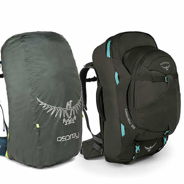 49ab6172730 Osprey Fairview 55 litre travel backpack misty grey with free raincover ...