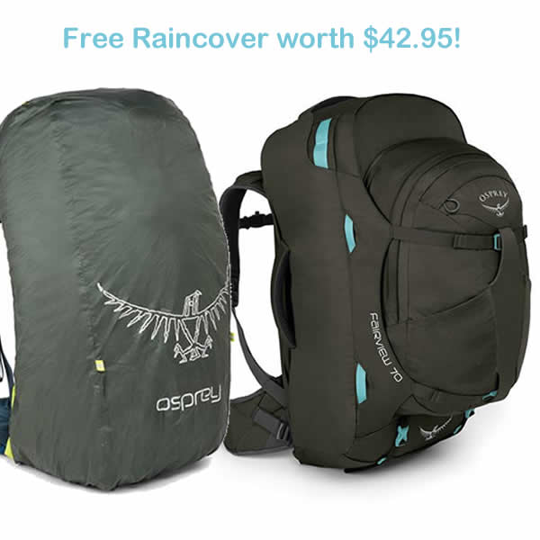 2f9d3ff1a5 Osprey Fairview 70 litre womens travel backpack misty grey with free  raincover ...