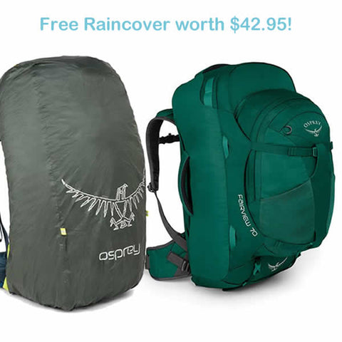 Osprey Fairview 70 litre womens travel backpack rainforest green with free raincover