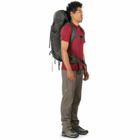 Osprey Kestrel 48 Litre Men's Hiking Backpack side view in use