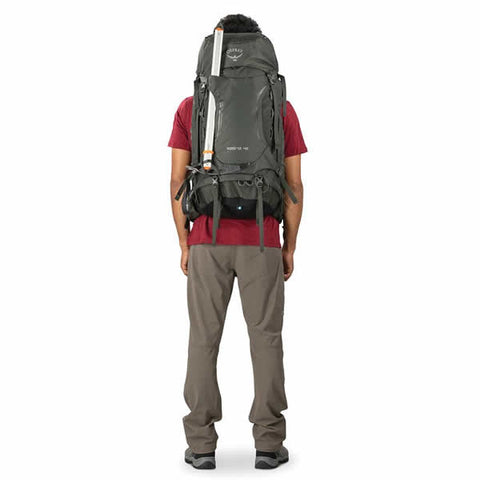 Osprey Kestrel 48 Litre Men's Hiking Backpack rear view in use ice tools attached