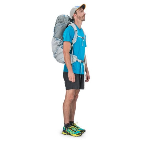 Osprey Levity 45 Ultralight Hiking Backpack Parallax Silver in use side view
