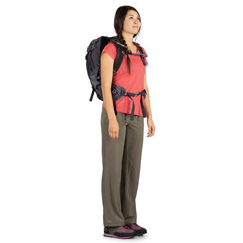Osprey Mira Women's 22 litre hyrdration hiking backpack in use side view