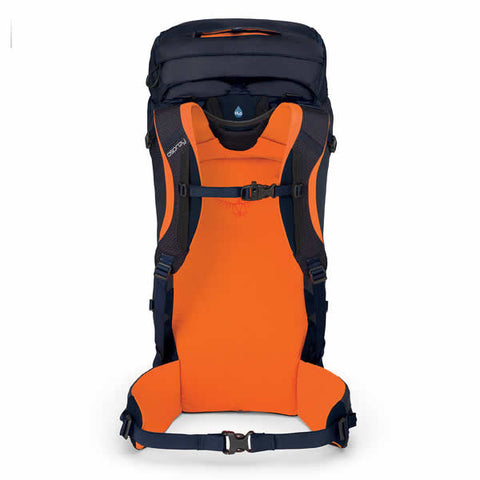 Osprey Mutant 38 litre climbing mountaineering backpack blue fire carry harness view