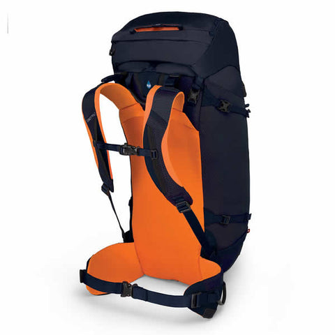 Osprey Mutant 38 litre climbing mountaineering backpack blue fire carry harness