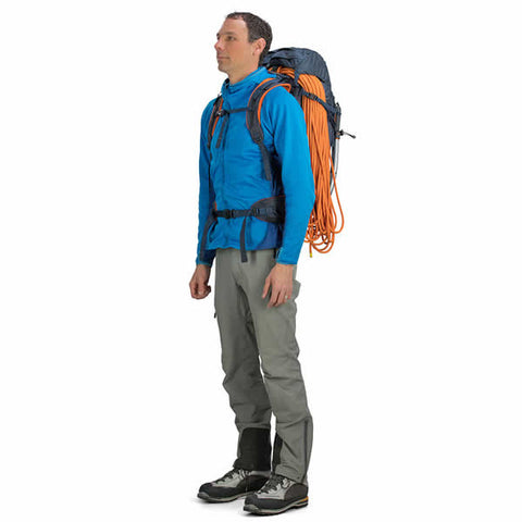 Osprey Mutant 38 litre climbing mountaineering backpack blue fire in use side view