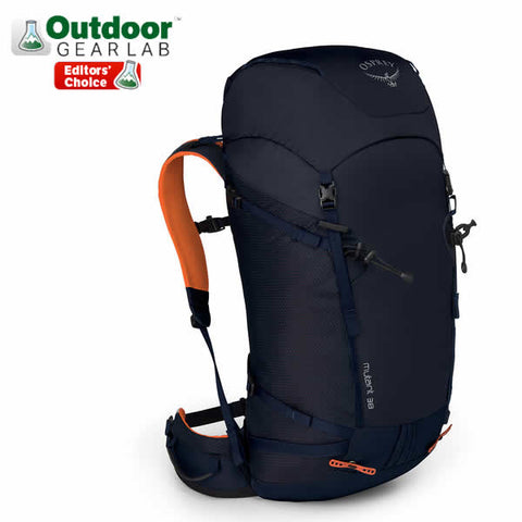 Osprey Mutant 38 litre climbing mountaineering backpack blue fire in use rear view
