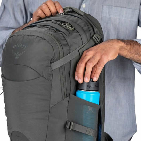 Osprey Nebula 34 Litre Carry On Day Pack Black side water bottle pocket