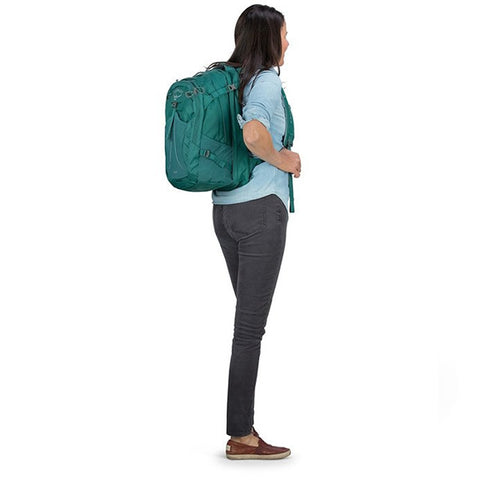 Osprey Nova Womens 33 litre Carry on daypack with laptop sleeve in use side view