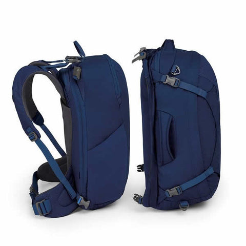 Osprey Ozone Duplex Women's 60 Litre Carry On Travel Pack side view buoyont blue unclipped