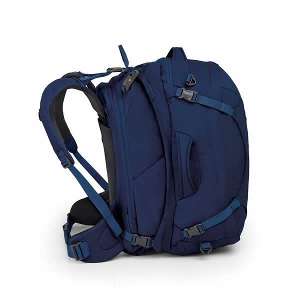 Osprey Ozone Duplex Women's 60 Litre Carry On Travel Pack side view buoyont blue