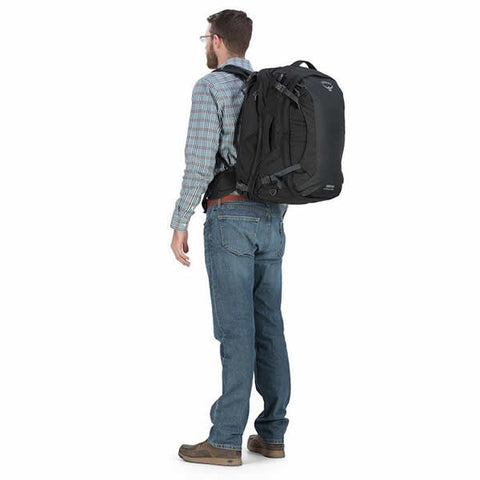 Osprey Ozone Duplex Men's 65 Litre Carry On Travel Backpack Black on back