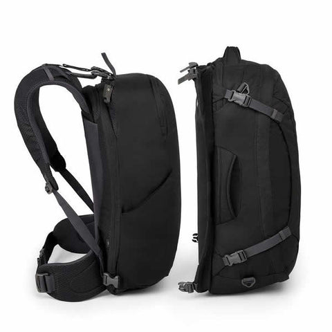 Osprey Ozone Duplex Men's 65 Litre Carry On Travel Backpack Black unclipped side view