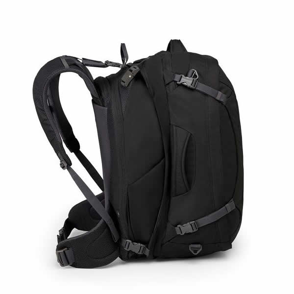 Osprey Ozone Duplex Men s 65 Litre Carry On Travel Backpack Black Side view