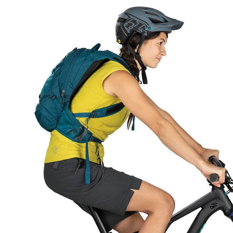 Osprey Women's Raven 10 Litre MTB Hydration Pack in use on Bike