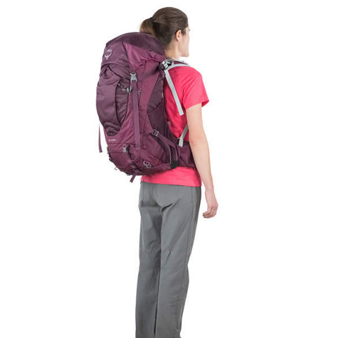 Osprey Sirrus 50 Litre Women's Overnight Hiking Backpack - latest model in use rear view