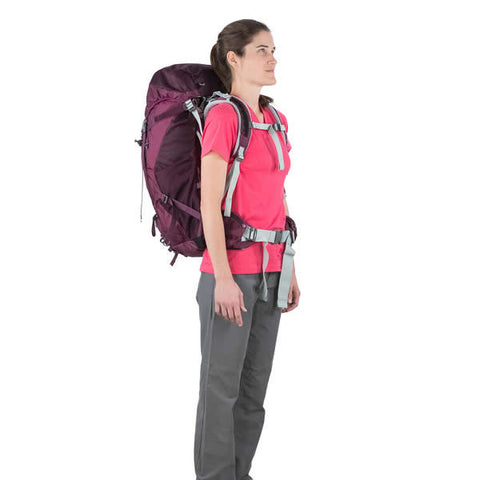 Osprey Sirrus 50 Litre Women's Overnight Hiking Backpack - latest model in use front view