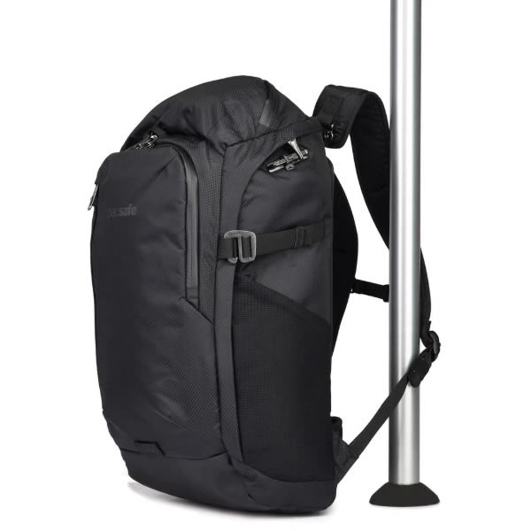 59a9a4ec4 ... Pacsafe Venturesafe X30 Anti Theft 30 Litre Backpack Daypack Black  clipped to pole ...