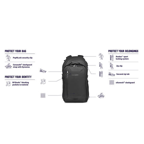 Pacsafe Venturesafe X30 Anti Theft 30 Litre Backpack Daypack features