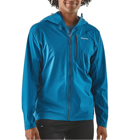 Patagonia Men's Storm Racer Ultralight Waterproof Windproof Breathable Trail Running Jacket in use front view
