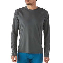 Patagonia Men's Capilene Lightweight Crew Long Sleeve Thermal Top - Thermal Underwear Forge grey front view in use