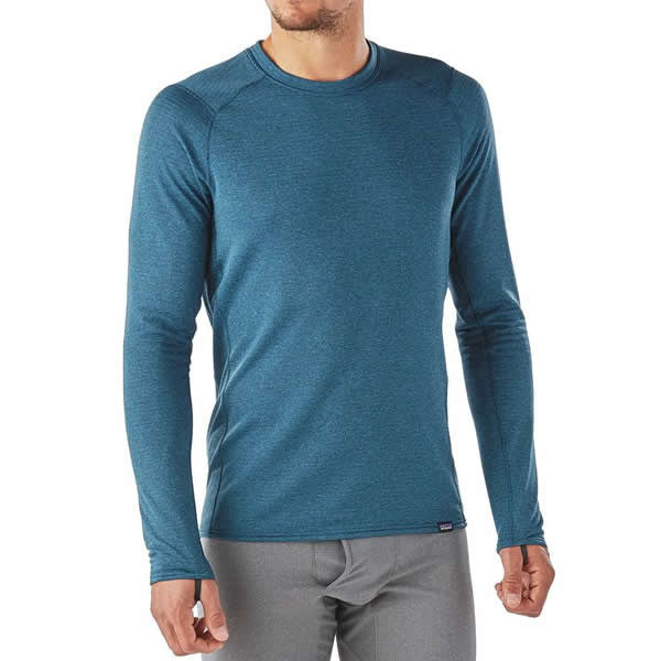 Patagonia Mens Capilene Thermal Weight Crew Thermal Top Front view in use  on man ... 7eb84b5395fa