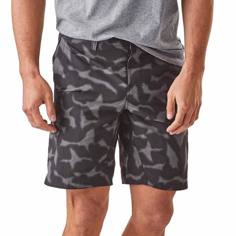 Patagonia Mens Wavefarer Cargo Shorts Forge Grey front view in use