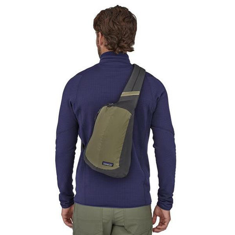 Patagonia Lightweight Black Hole Sling Bag in use on back