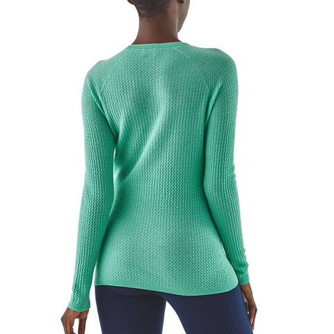 Patagonia Women's Capilene Air Merino Blend Long Sleeve Thermal Top in use rear view