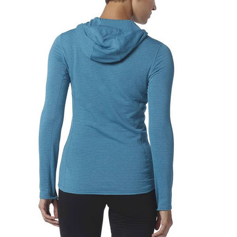 Patagonia Women's Capilene Thermal Weight 1/4 Zip Neck Hoody - Long Sleeve Thermal Top rear view in use