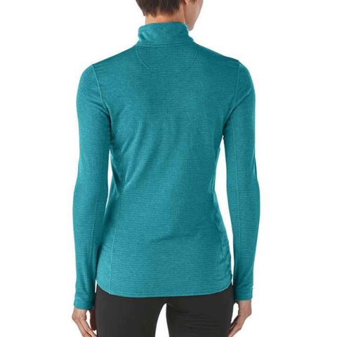 Patagonia Womens Capilene Thermal Weight Zip-Neck Thermal Top rear view in use