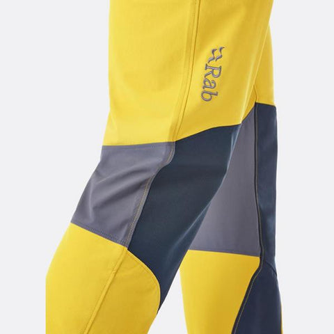 Rab Men's Torque Softshell Climbing Pants articulated knees with material overlay
