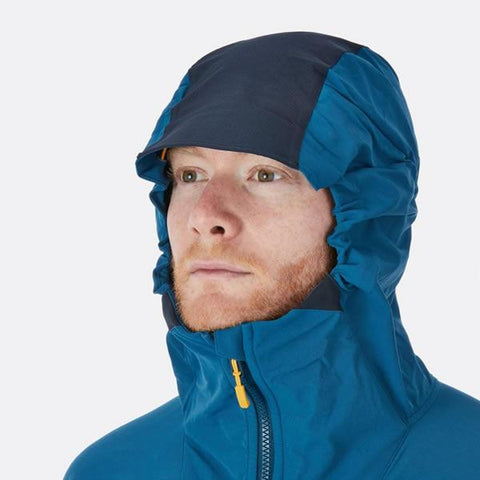 Rab Torque Jacket hood in use