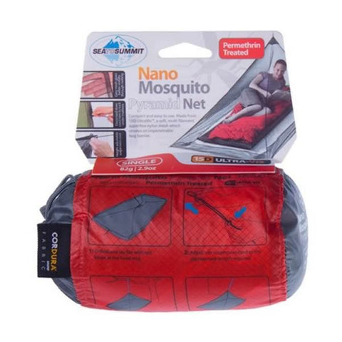 Sea to Summit Nano Single Pyramid Mosquito Net Permethrin treated