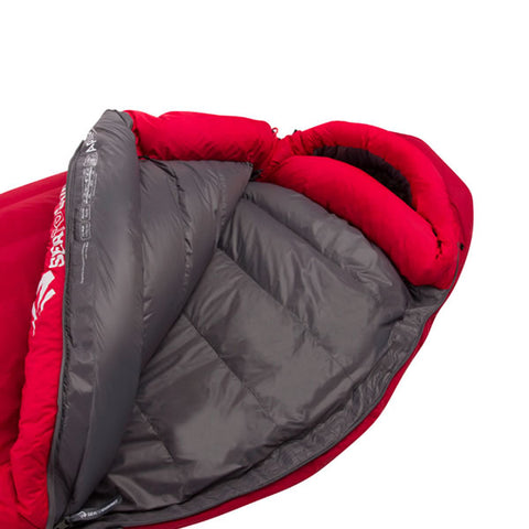 Sea to Summit Alpine 3 Expedition 850 loft down sleeping bag unzipped side view