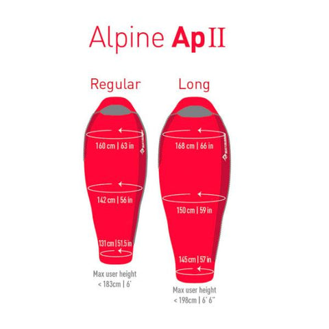 Sea to Summit Alpine 2 APII Regular Sleeping Bag dimensions