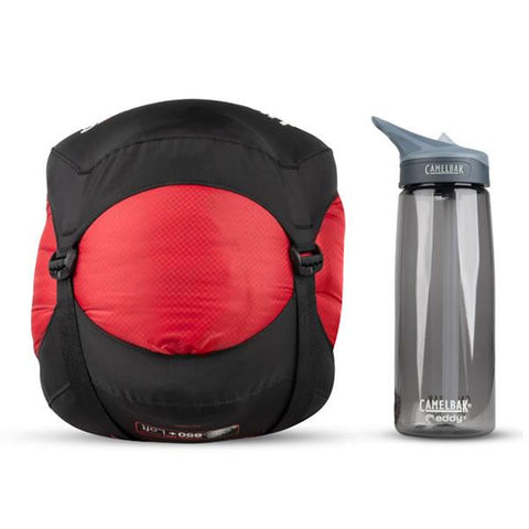 Sea to Summit Alpine 2 APII Regular Sleeping Bag packed into compression sack next to water bottle
