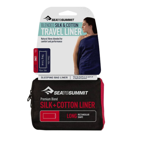 Sea to Summit Blended Silk and cotton travel liner long in package and swing tag