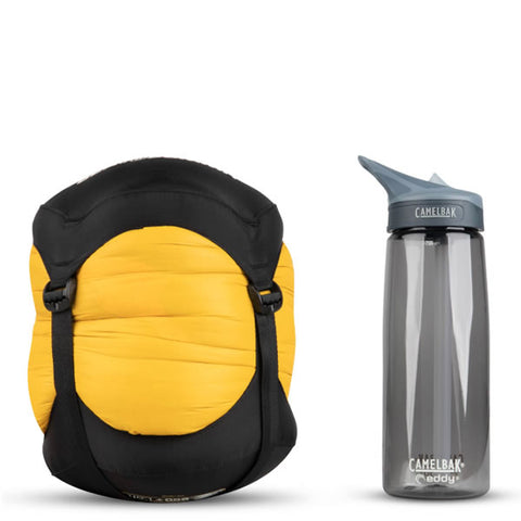 Sea to Summit Spark 4 down Sleeping Bag -15 Degrees compressed next to water bottle