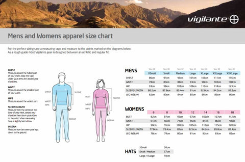 Vigliante Men's Travel Jeans Sizing Chart