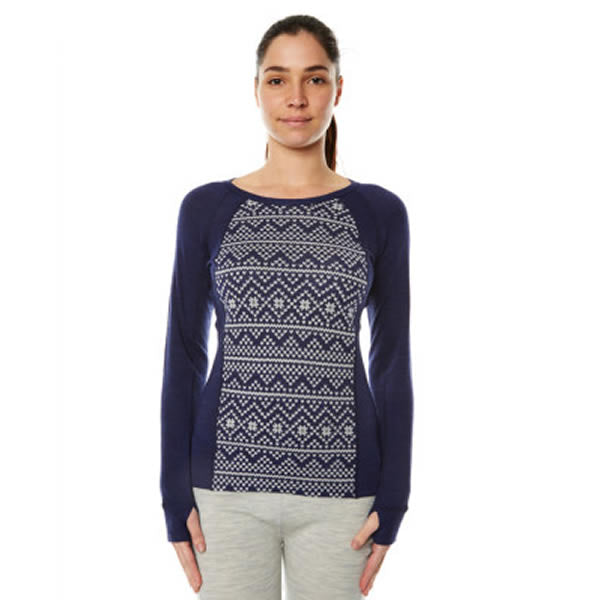 XTM Women's Merino Jacquard Crew Long Sleeve Thermal Top Navy